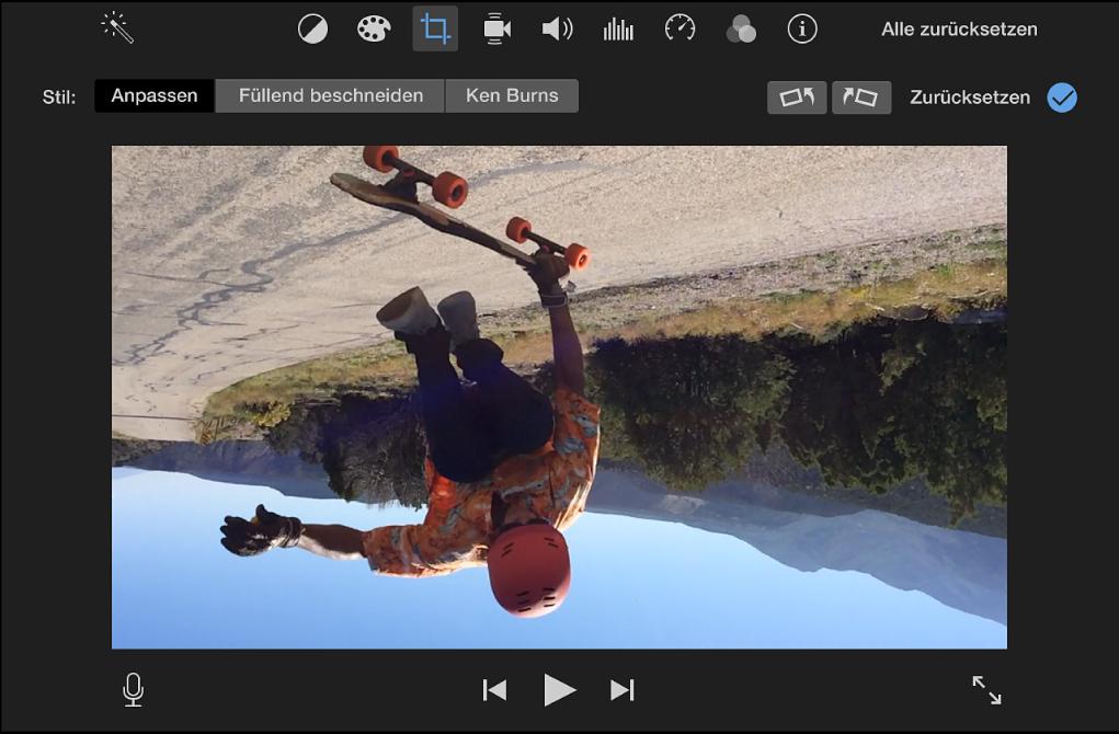 Viewer mit einem um 180 Grad gedrehten Clip