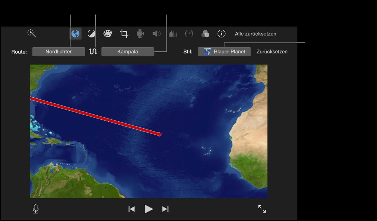 Steuerungen für die animierte Reisekarte über dem Viewer zum Festlegen des Start- und des Zielorts, zum Umkehren der Fahrtrichtung und zum Auswählen des Kartenstils