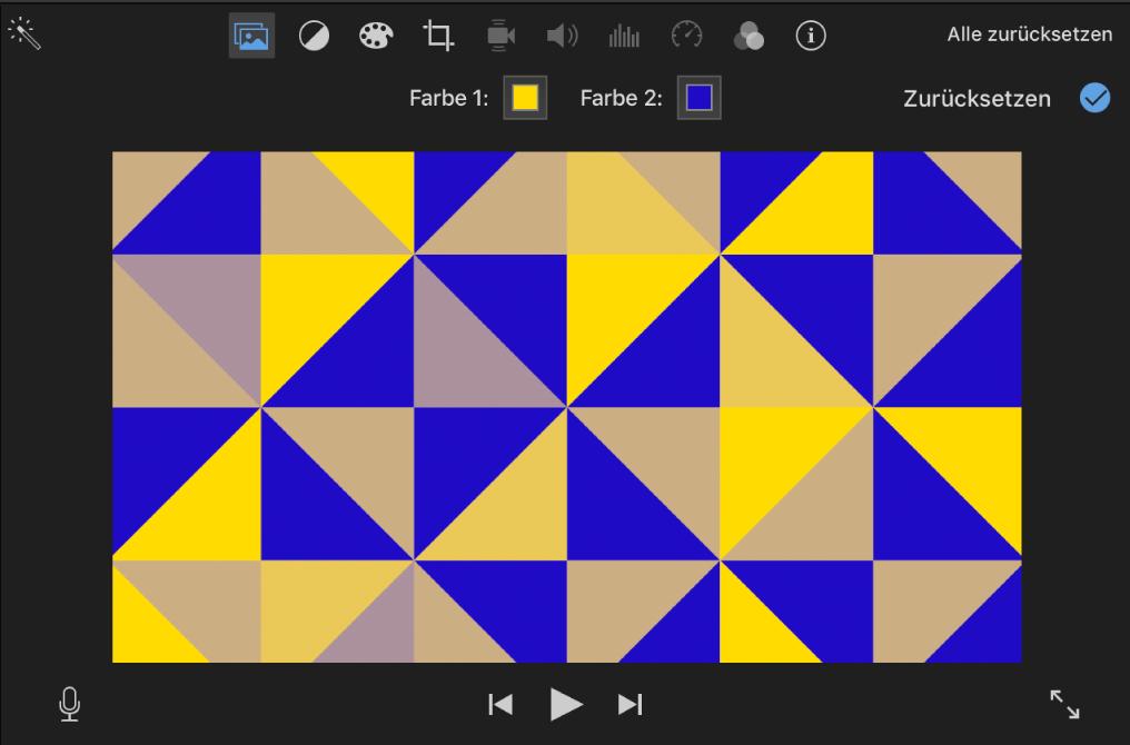 Gemusterter Hintergrund im Viewer, zwei Farbfelder befinden sich über dem Viewer