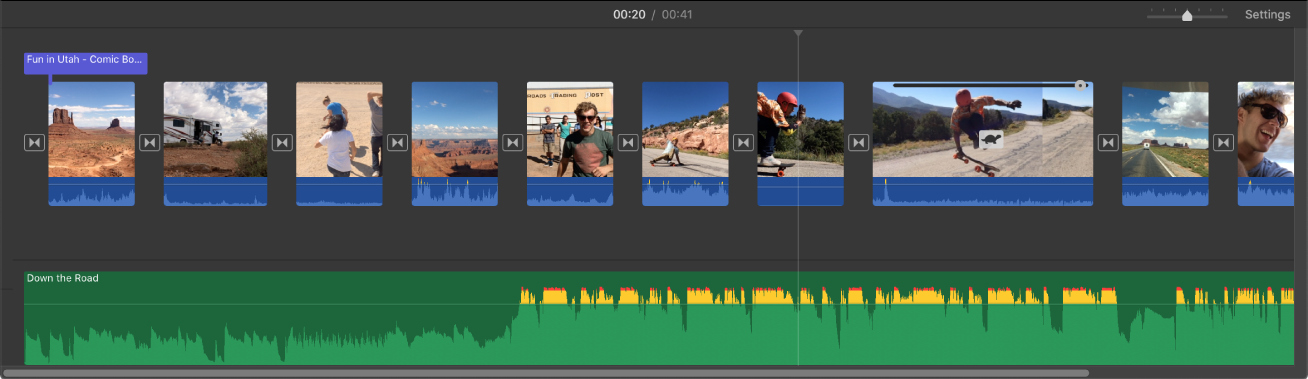 Timeline showing thumbnails of video clips and an audio clip below the video clips