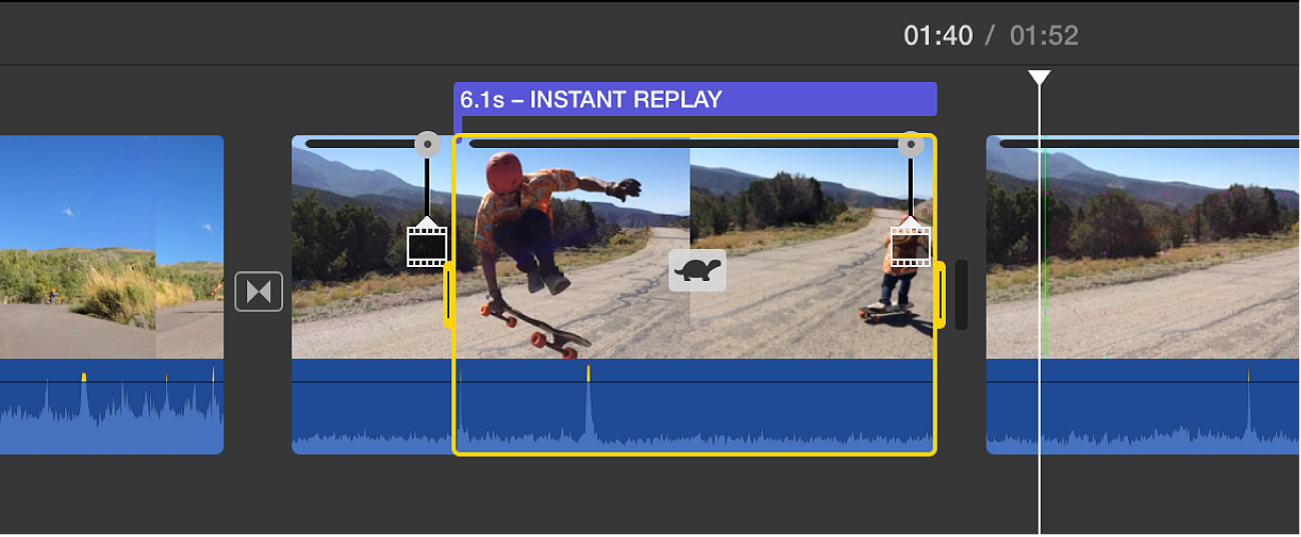 """Clip in timeline showing instant replay segment with turtle icon, speed slider at top, and """"Instant Replay"""" title above"""