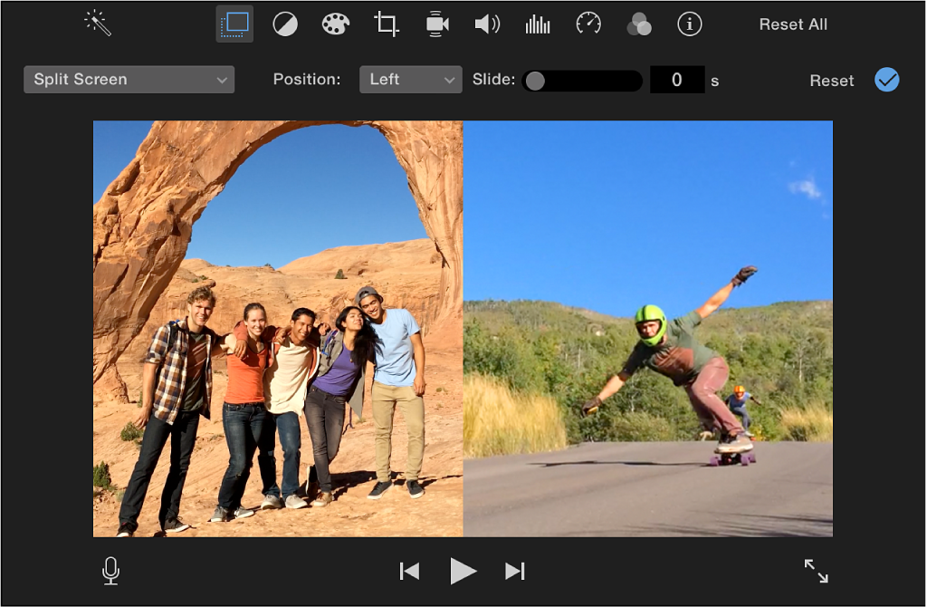 Viewer showing cropped clips appearing side by side, with controls above