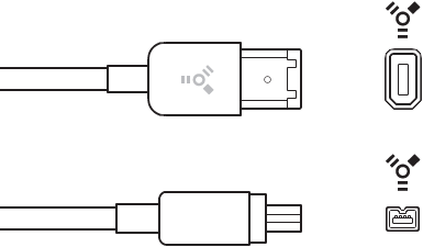 FireWire 4-pin and 6-pin connectors