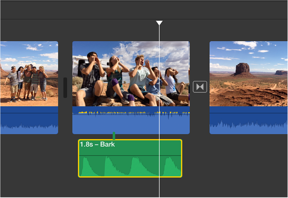 Audio clip selected in timeline