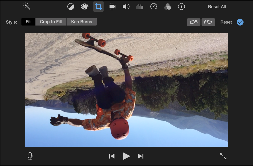 Viewer showing clip rotated 180 degrees