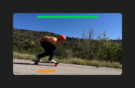 Clip in browser with green line at top of frames marked as favorite