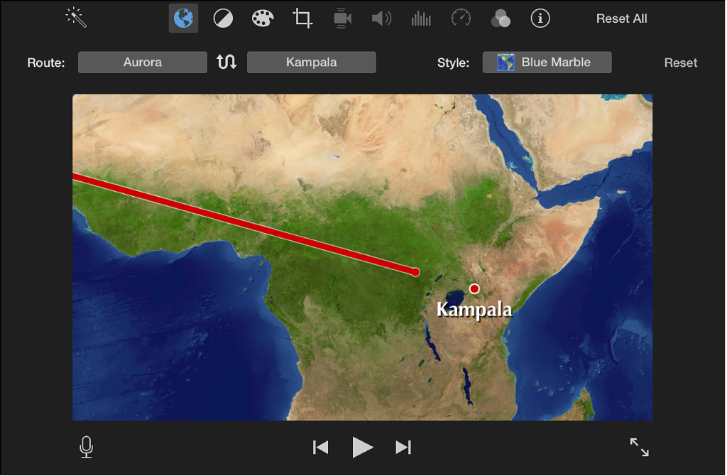 Animated travel map in viewer