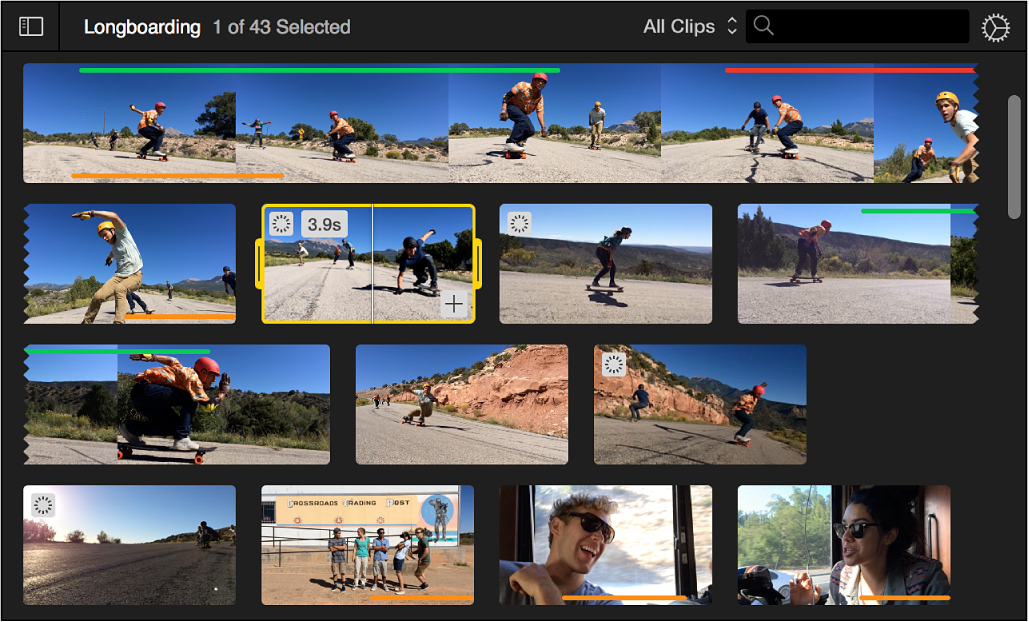 Browser showing selected clip with yellow border and clip duration in upper-left corner