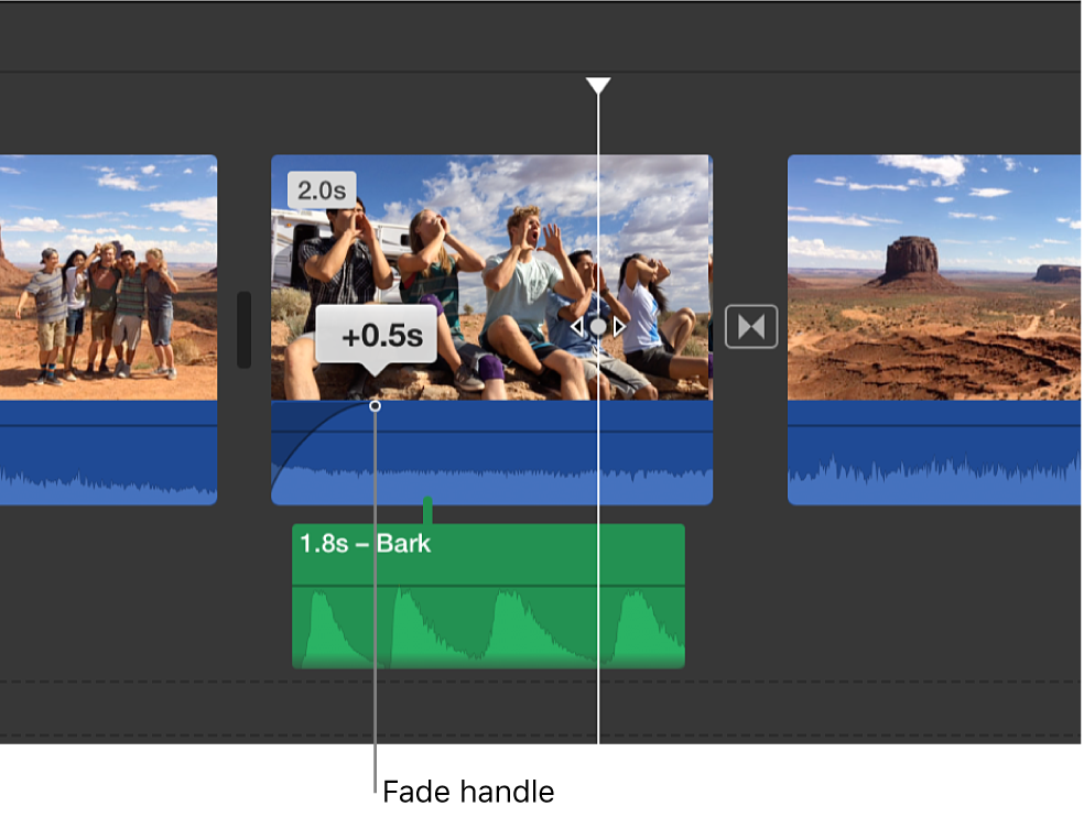 Fade handle in audio portion of clip in timeline