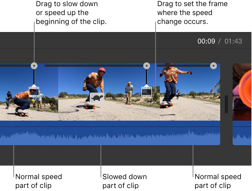 Turtle icon and speed sliders appearing on clip in timeline