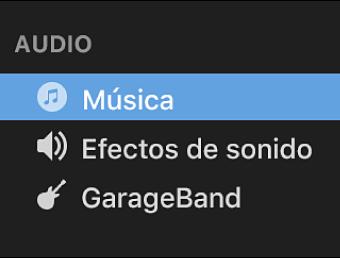 La opción Música seleccionada en la barra lateral