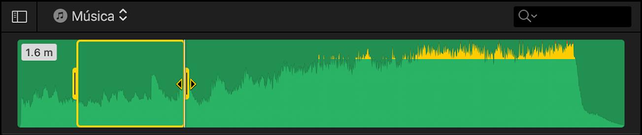 Intervalo seleccionado de un clip de audio