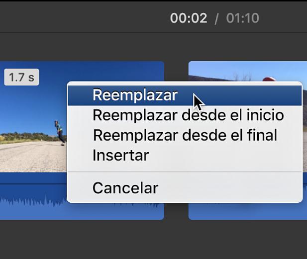Menú en la línea de tiempo con las opciones de reemplazo del clip