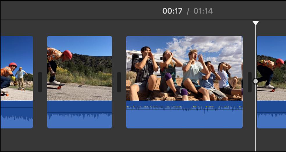 Clip insertado entre dos segmentos de un clip dividido
