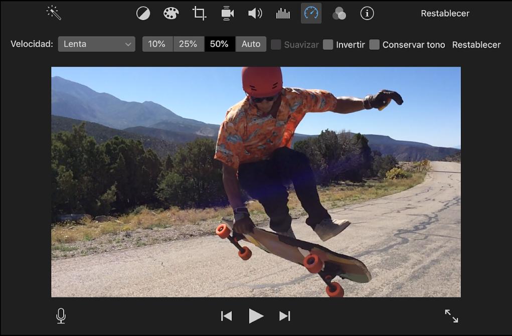Controles de velocidad encima de un clip en el visor
