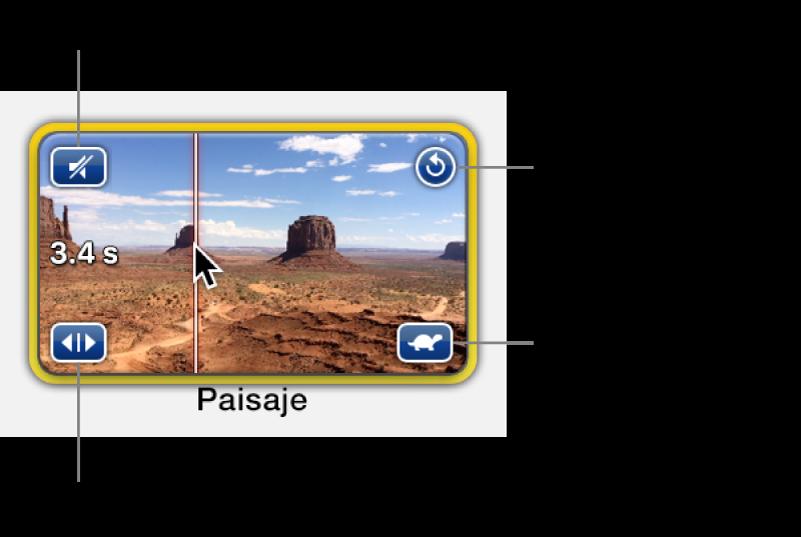 Contenedor de marcador de posición con clip de video, donde se muestra el ícono de altavoz en la esquina superior izquierda, una flecha circular en la esquina superior derecha, flechas dobles en la esquina inferior izquierda y el ícono de velocidad en la esquina inferior derecha
