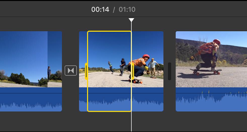 Borde amarillo alrededor del intervalo seleccionado del clip en la línea de tiempo