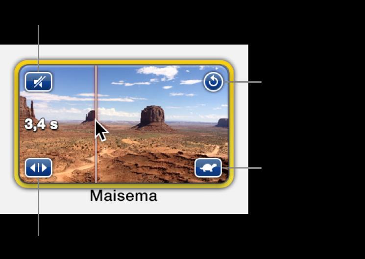 Paikanvaraajavalitsin ja videoklippi, jossa näkyy kaiutinkuvake ylhäällä vasemmalla, ympyränuoli ylhäällä oikealla, kaksi nuolta alhaalla vasemmalla ja nopeuskuvake alhaalla oikealla