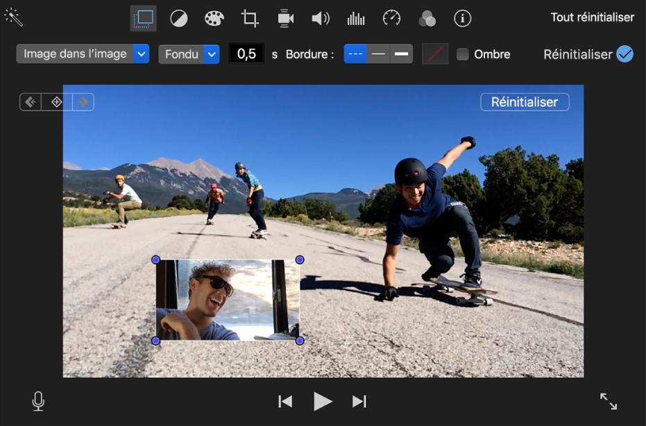 Commandes d'image dans l'image au-dessus du visualiseur