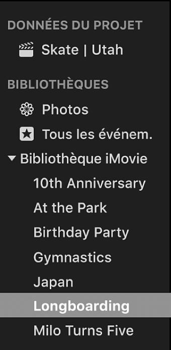 Évènement sélectionné dans la liste Bibliothèques