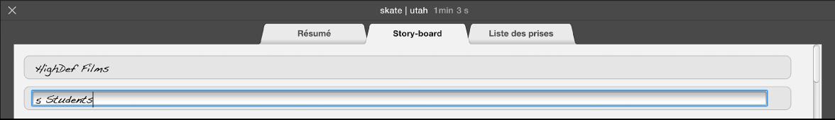 Texte en cours de saisie dans la sous-fenêtre Story-board d'une bande-annonce