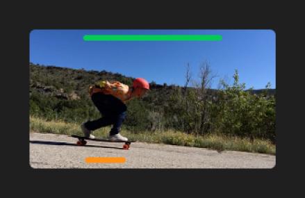 Plan dans le navigateur avec une ligne verte sur le bord supérieur des images marquées comme favorites