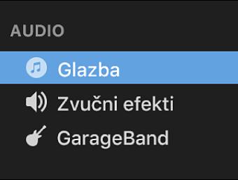 Aplikacija Glazba, odabrana u rubnom stupcu