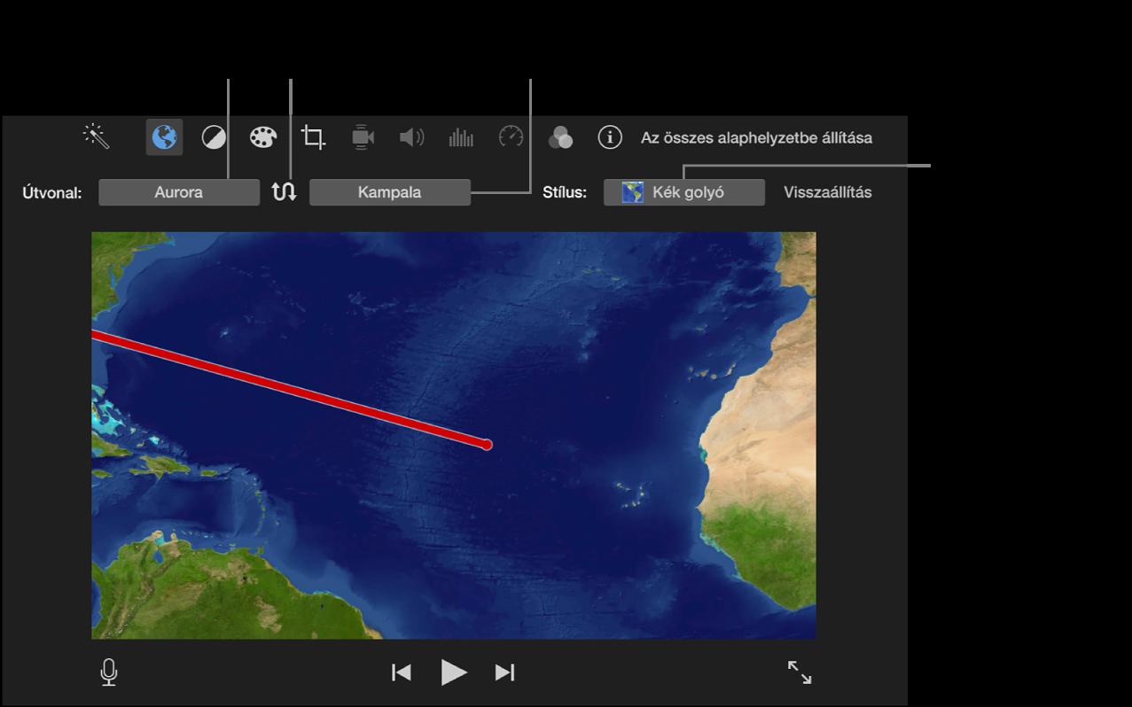 Animált úti térkép vezérlői a lejátszóablak felett a kezdő és záró helyzet beállításához, útirány felcseréléséhez és a térképstílus kiválasztásához