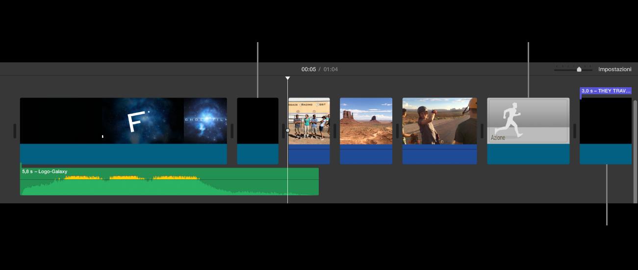Timeline che mostra un trailer convertito in filmato con clip neri che rappresentano la sequenza di apertura con il logo dello studio, clip neri con barre viola che rappresentano le sequenze titolo del trailer e immagini in scala di grigio che rappresentano clip segnaposto