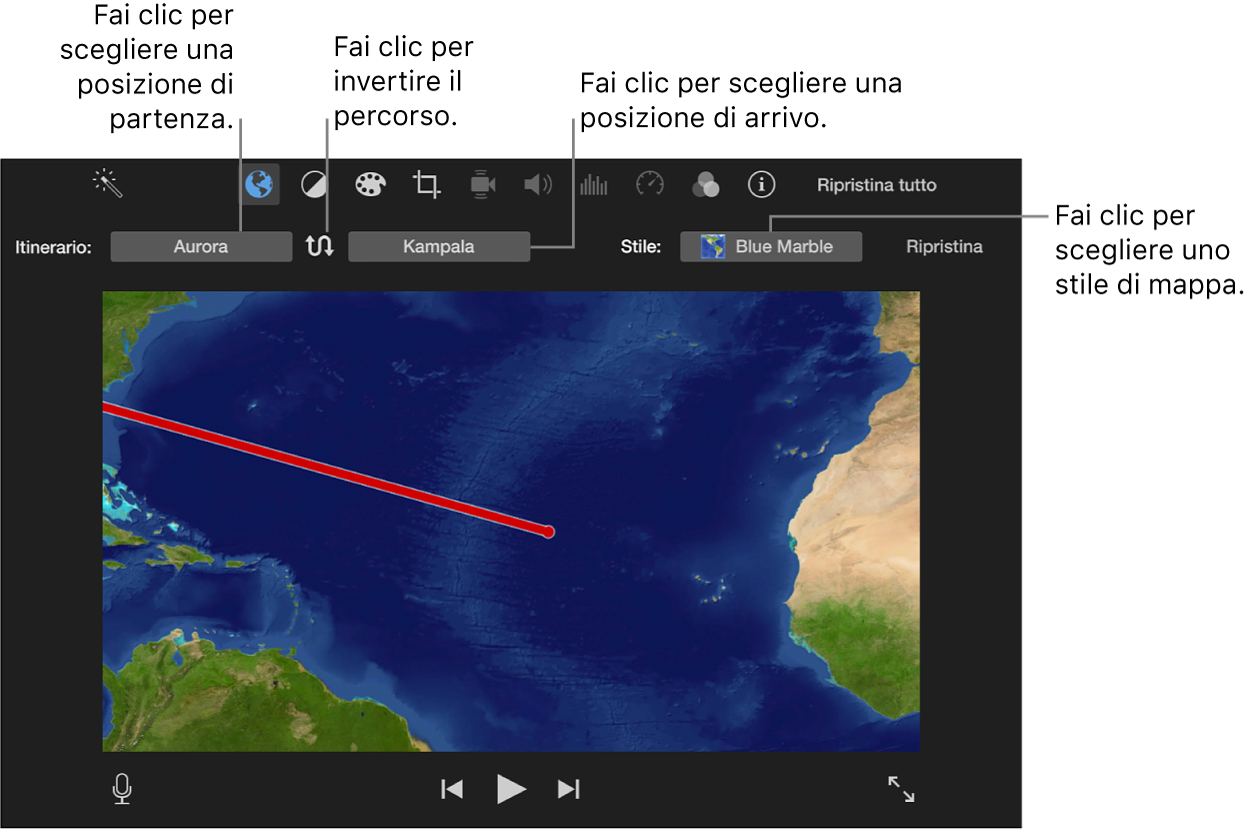 Controlli della mappa di viaggio animata sopra il visore per impostare la posizione di inizio e fine, per cambiare la direzione dell'itinerario e per scegliere uno stile mappa