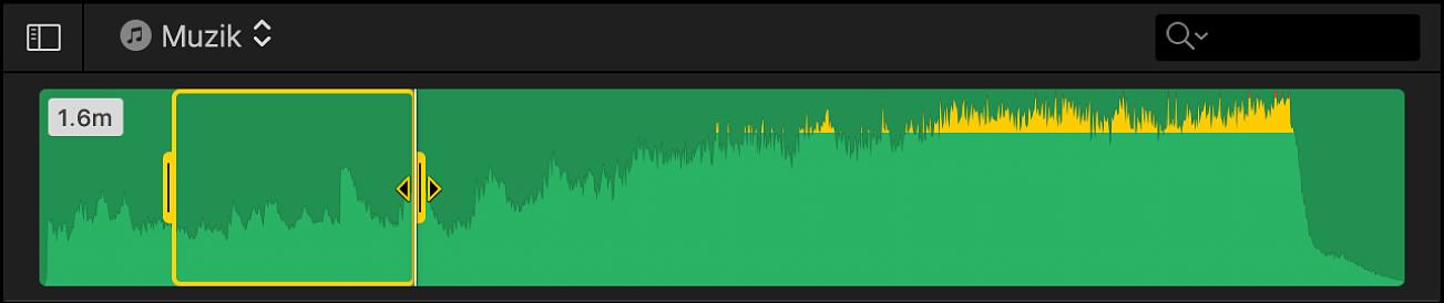 Julat yang dipilih dalam klip audio