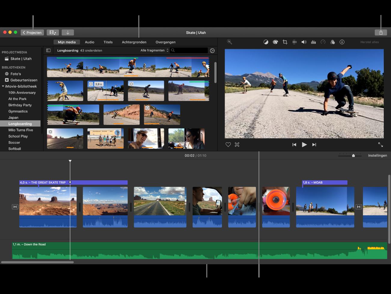 Hoofdvenster van iMovie met linksboven de kiezer, rechtsboven het weergavevenster en onderin de tijdbalk