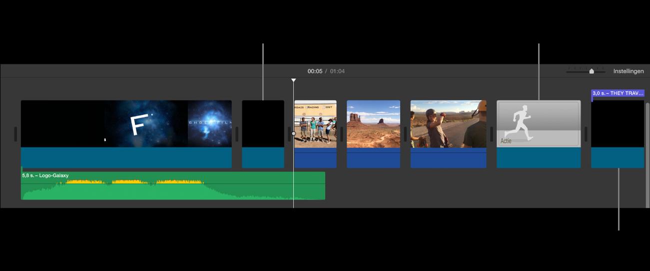Tijdbalk met trailer die naar een film is geconverteerd. De zwarte fragmenten vormen de openingsreeks met het studiologo, de zwarte fragmenten met paarse balken vormen de titelreeksen van de trailer en de grijze beelden zijn voorbeeldfragmenten.