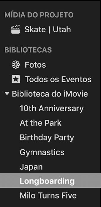 Evento selecionado na lista de Bibliotecas