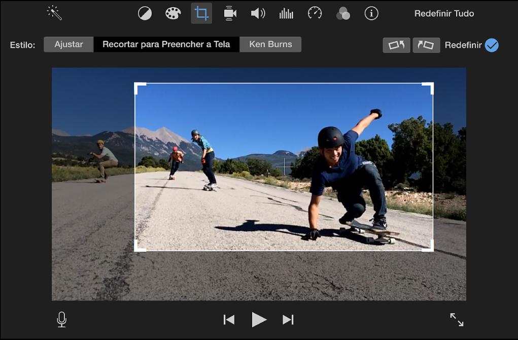 Visualizador exibindo um fotograma ajustável na parte superior do clipe