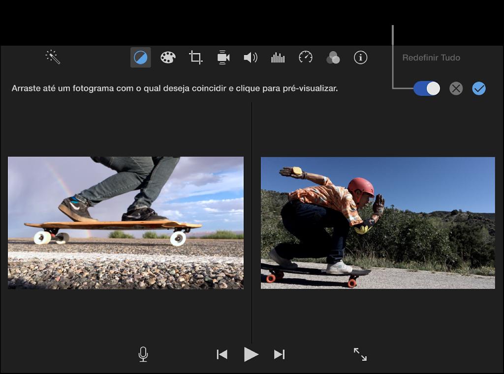Visualizador exibindo um clipe à direita e a pré-visualização do clipe de origem correspondente à esquerda