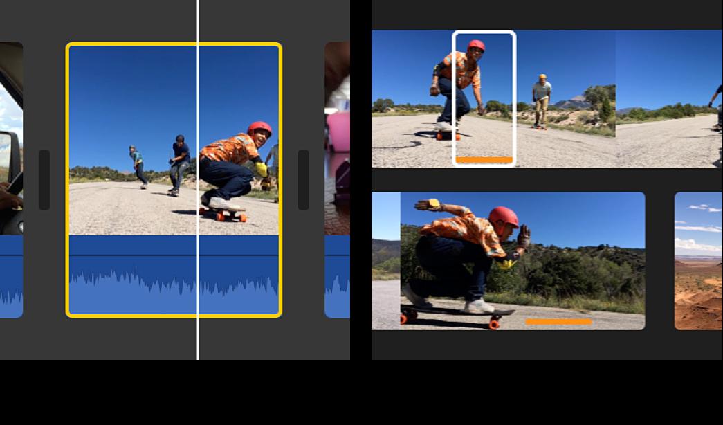 Gráfico à esquerda exibindo clipe selecionado na linha do tempo e gráfico à esquerda exibindo intervalo selecionado no clipe de origem no navegador, correspondendo aos limites do clipe na linha do tempo