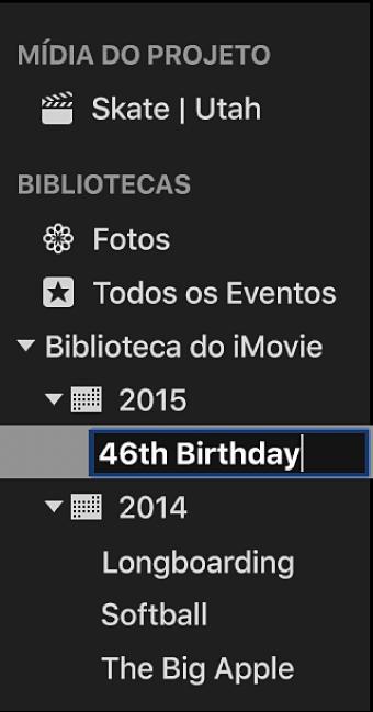 Evento sendo renomeado na lista de Bibliotecas