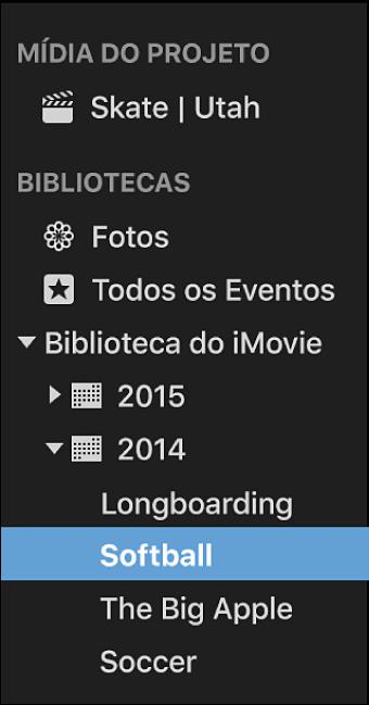 Lista de Bibliotecas com eventos ordenados e agrupados por ano