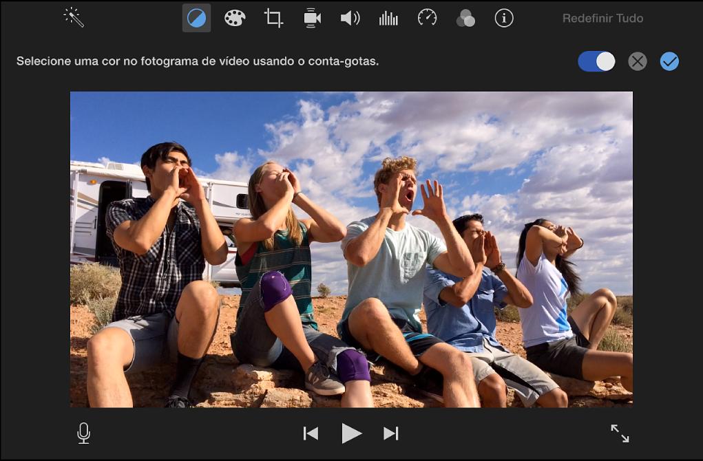 Clipe no visualizador, com instruções acima para selecionar cores no clipe usando o conta-gotas