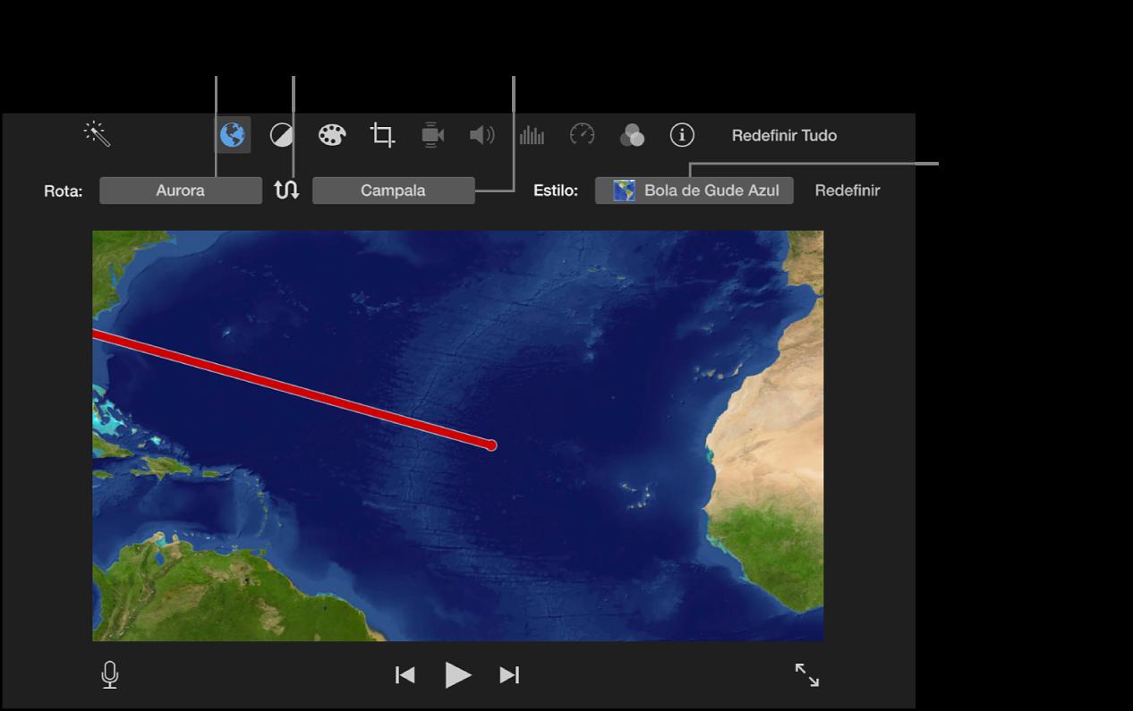 Controles do mapa animado acima do visualizador para definição da localização inicial e final, alternância da direção da rota e escolha do estilo do mapa