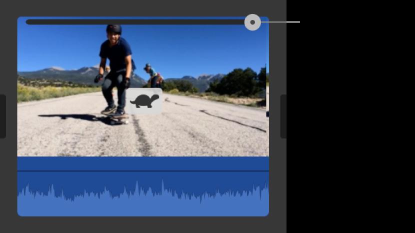 Pictograma iepurelui și glisorul pentru viteză, care apar într-un clip din cronologie