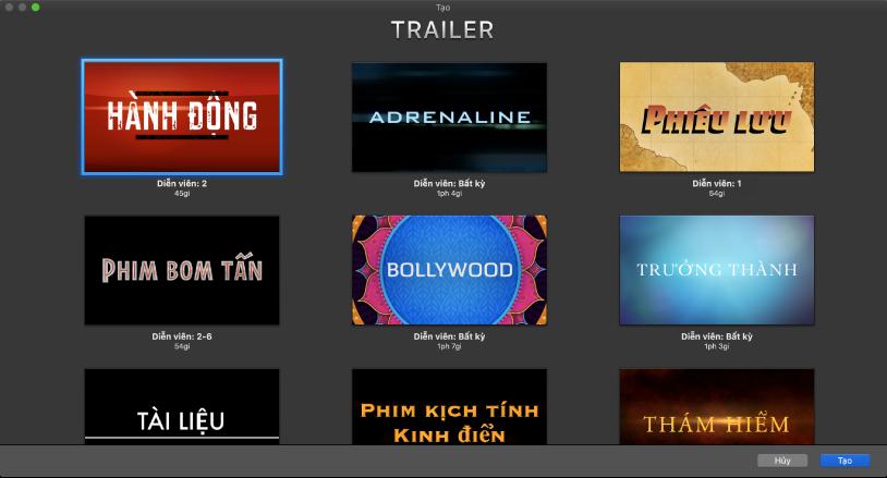 Cửa sổ Tạo đang hiển thị các hình thu nhỏ của các mẫu trailer