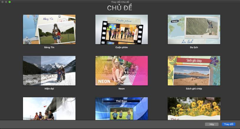 Cửa sổ Thay đổi chủ đề đang hiển thị các hình thu nhỏ của các chủ đề phim