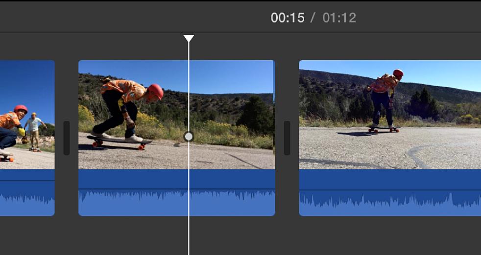 時間列中位於剪輯片段插入點的播放磁頭
