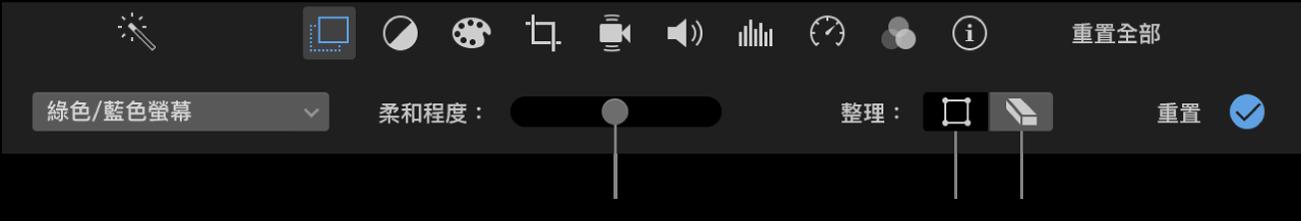 「綠色/藍色螢幕」控制項目