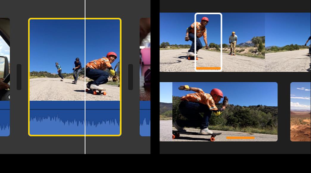左側圖形顯示時間列中的所選剪輯片段,右側圖形顯示瀏覽器中來源剪輯片段內的所選範圍,符合時間列中的剪輯片段邊界