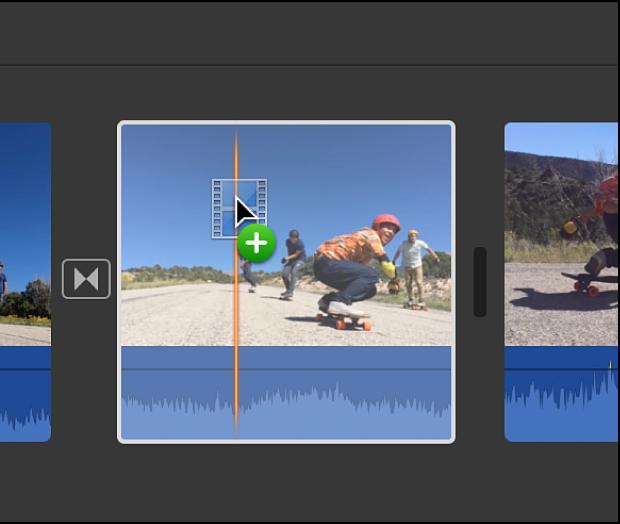 剪輯片段被拖到時間列中其他剪輯片段的上方
