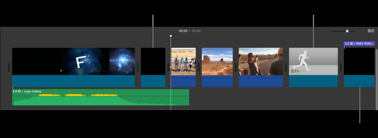 時間列顯示已轉換影片的預告片,包含代表開場工作室標誌序列的黑色剪輯片段、代表預告片字幕序列的黑色剪輯片段(具有紫色列),以及代表暫存區剪輯片段的灰色調影像