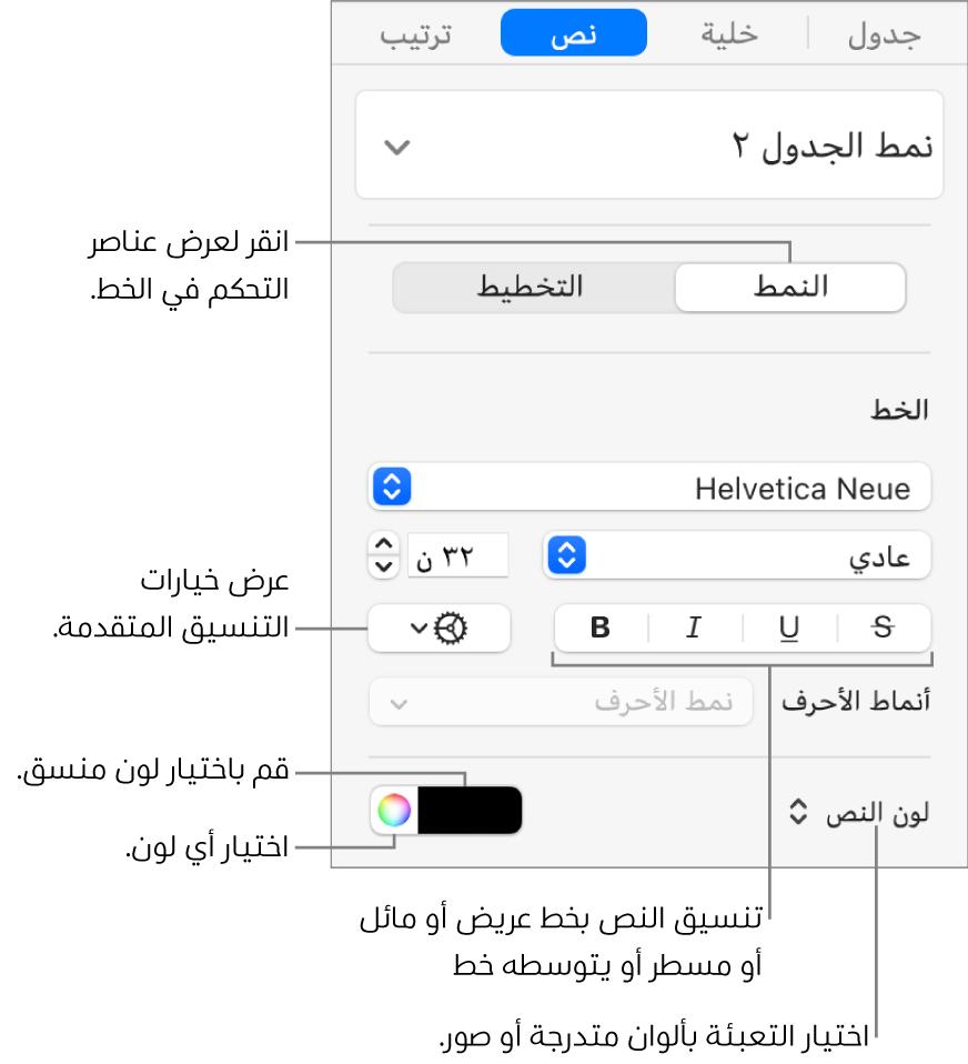 عناصر التحكم الخاصة بتطبيق أنماط نص الجدول.